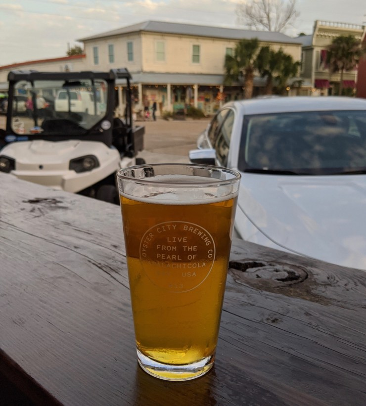 beer on the deck at Oyster City Brewing in Apalachicola