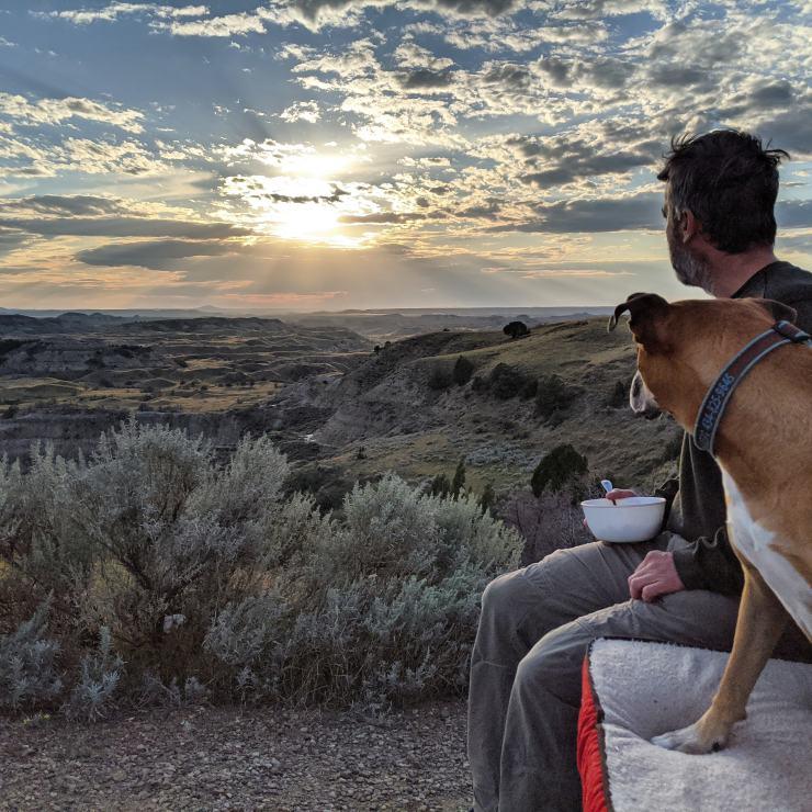 sunset at Teddy Roosevelt National Park