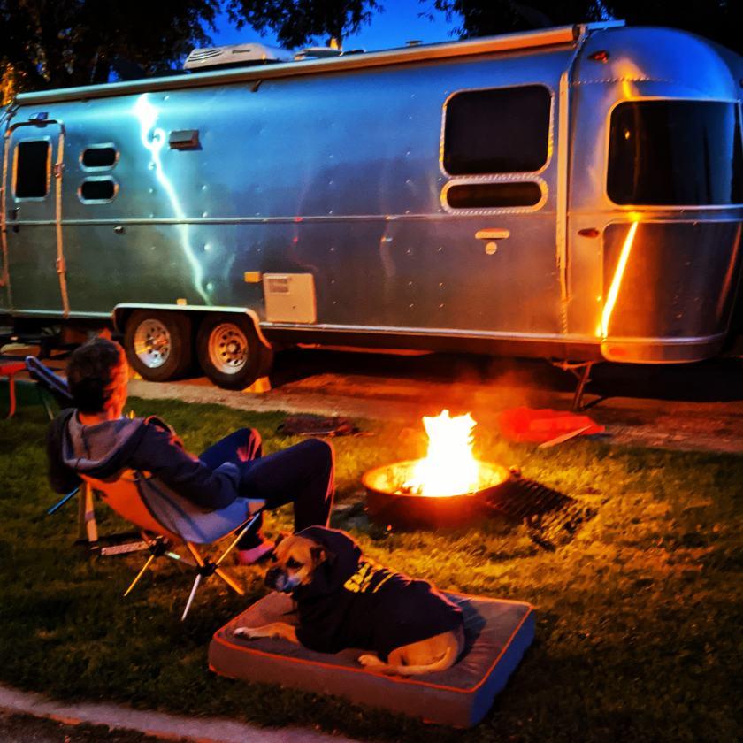 Airstream campfire in Missoula