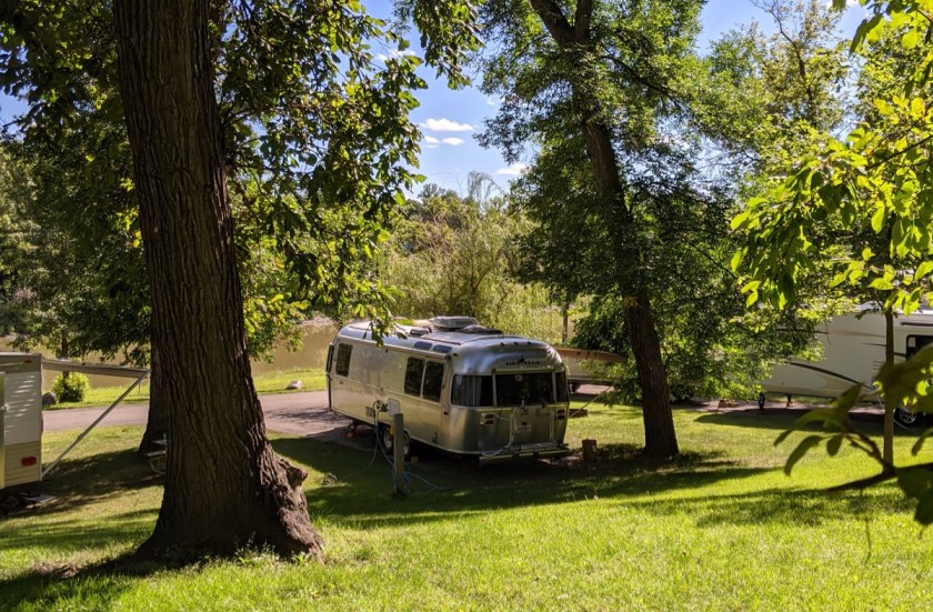 the Airstream at Lindenwood Campground in Fargo