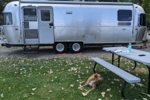 Airstream in the campground in Idaho Falls