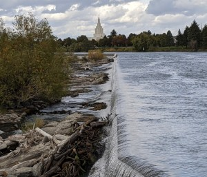 Idaho Falls with the temple in the background