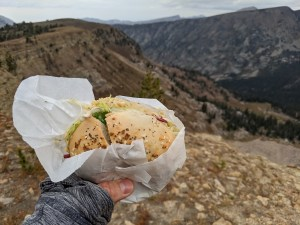 eating a Pearl Street Bagel on the Table Mountain hike
