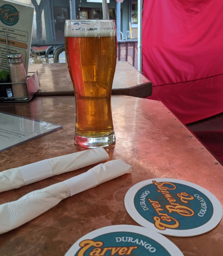 beer on the patio at Carver Brewing