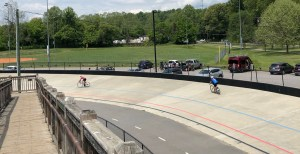 cycling on the velodrome in Carrier Park