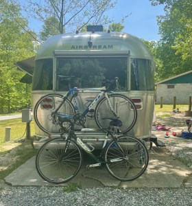 bikes loaded on the Airstream