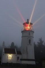 A foggy Umpqua Lighthouse around 9:00pm