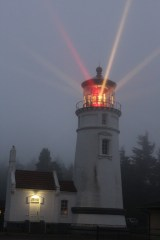 A foggy Umpqua Lighthouse around 9:00pm