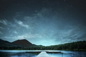 landscape, lake, night