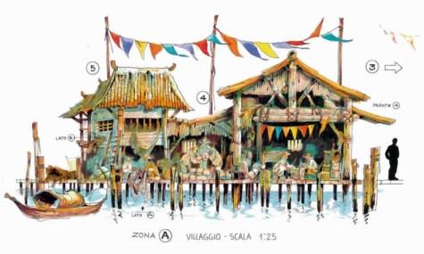 Konzeptzeichnungen eines Dorfes direkt am Fluss
