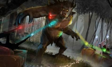 Mit Zauberstäben schießen die Gäste auf den gefährlichen Troll - Anklicken zum Vergrößern!