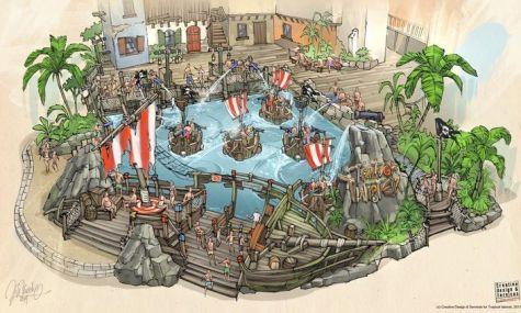 Eine Konzeptzeichnung für das Tropical Islands: Ein piratenhafter Twist'n'Splash von MACK-Rides