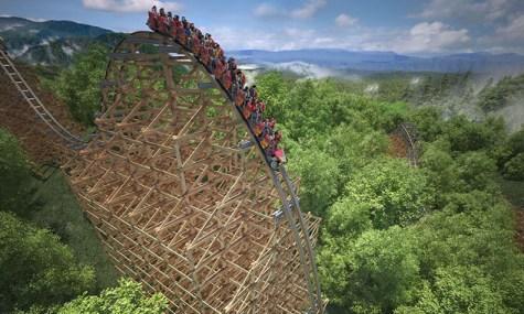 Grandiose Lage sowie der 73° steile erste Drop - Anklicken zum Vergrößern!