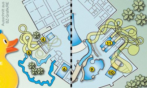 Die beiden Rutschentürme 1 (links) und 2 (rechts) in der Vergrößerung.