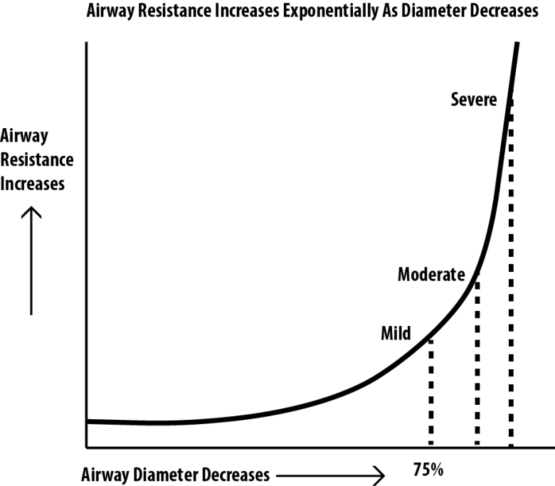 Graph showing resistance vs airway diameter. Important in selection of tube size during intubation of an infant