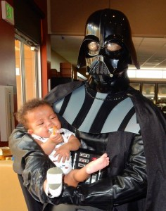 Healing Little Heroes director dressed as Darth Vader at Ronald McDonald House, San Diego