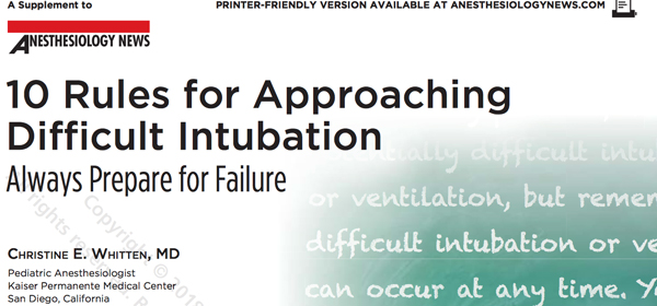 "cover image from article ""10 Rules for Approaching Difficult Intubation: Always Prepare For Failure"" from the journal Airway Management from Anesthesiology News"