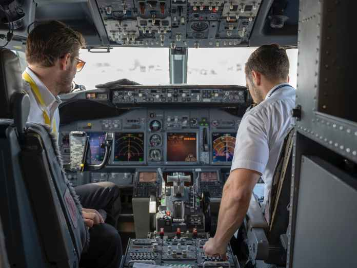 two pilots sitting inside plane