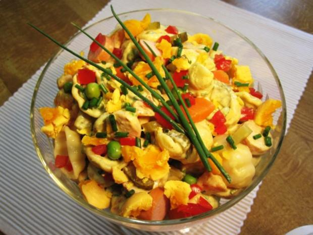 Nudelsalat mit Curry  Rezept mit Bild  kochbarde