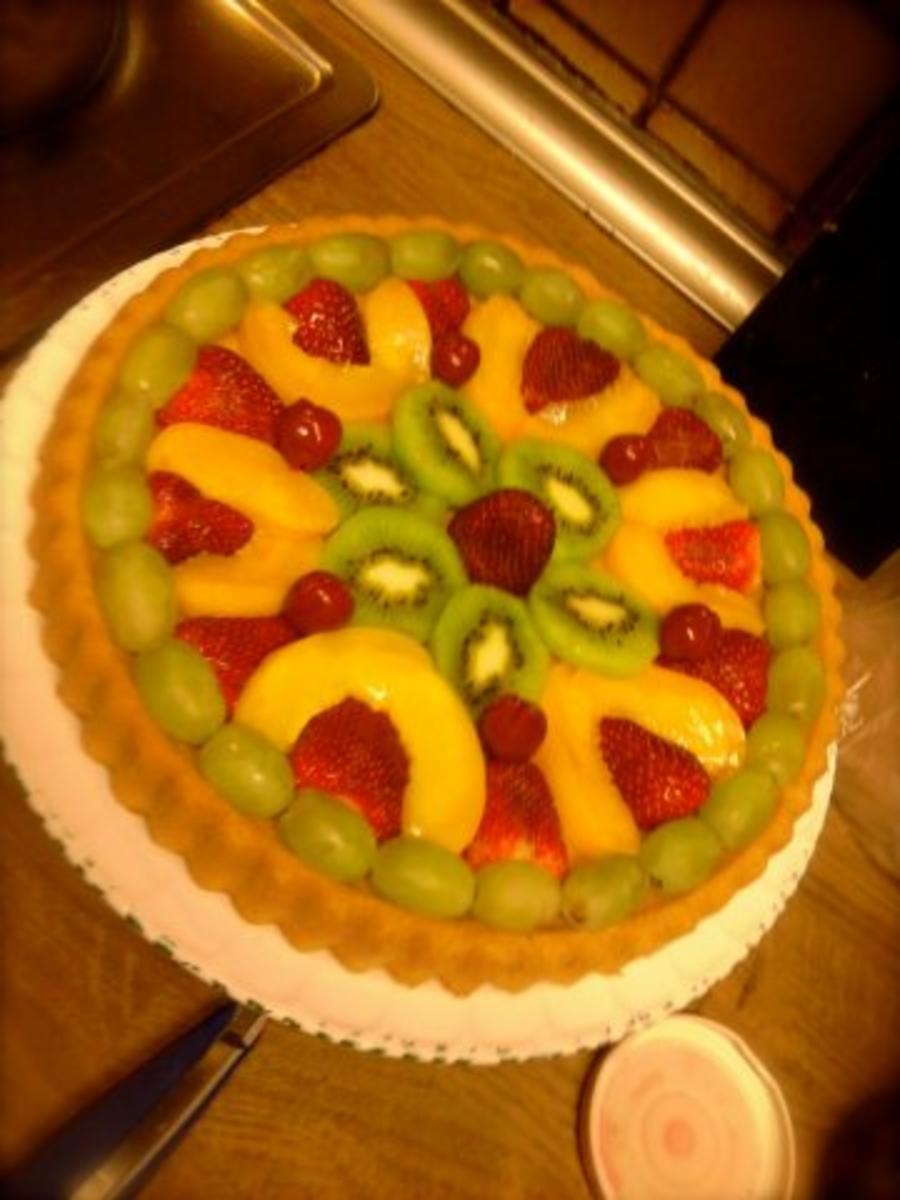 Obstkuchen mit Fr den Teig und Zucker  Rezept mit Bild