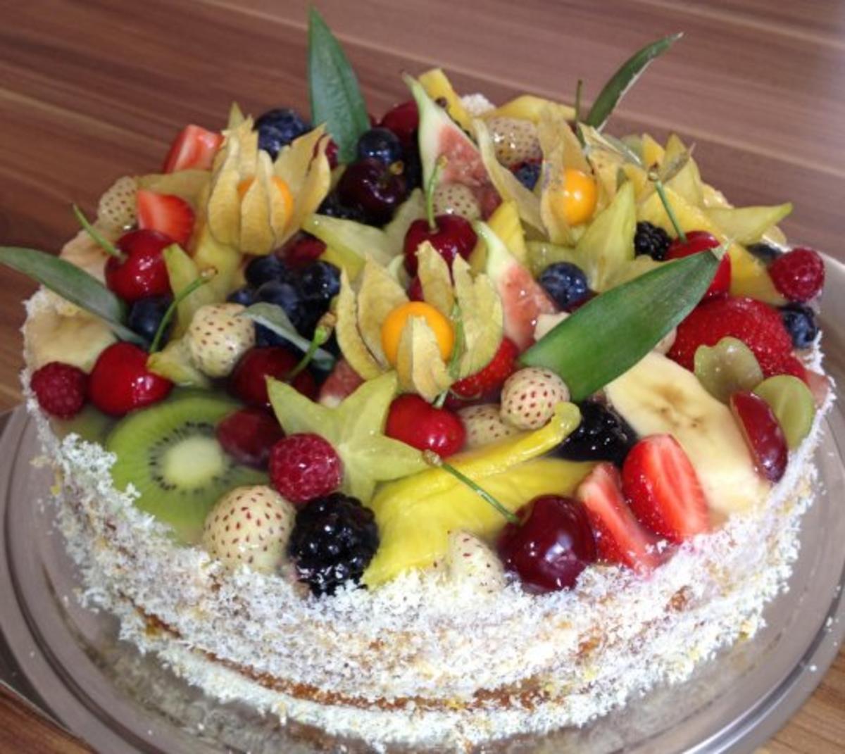 Obstkuchen Exotischer Obstkuchen  Rezept mit Bild