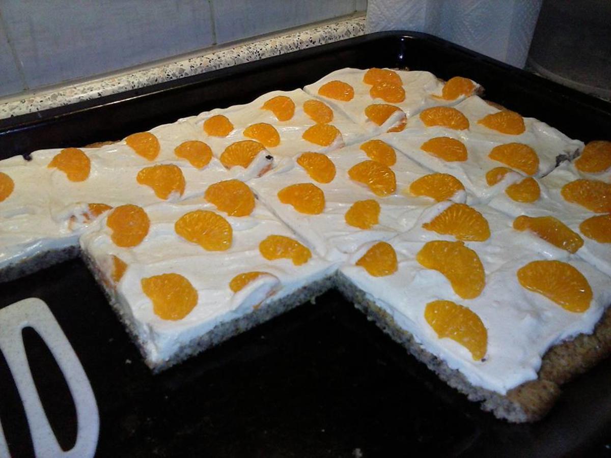 Quark Mandarinen Blechkuchen Low Carb  Rezept  kochbarde