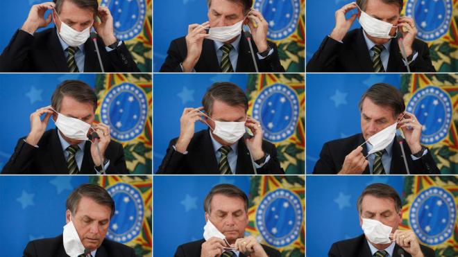A combination of picture shows Brazil's President Jair Bolsonaro adjusting his protective face mask during a press statement to announce federal judiciary measures to curb the spread of the coronavirus disease (COVID-19) in Brasilia, Brazil March 18,