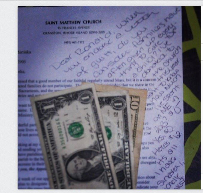 Letter to Church with money #catholic