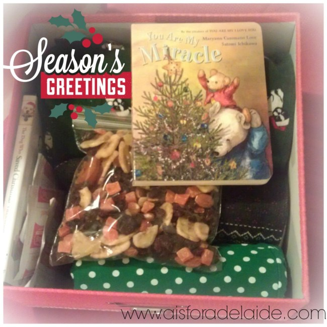 #ChristmasEveBox #aisforadelaide #contents #OldNavy #Target #JoAnnFabric