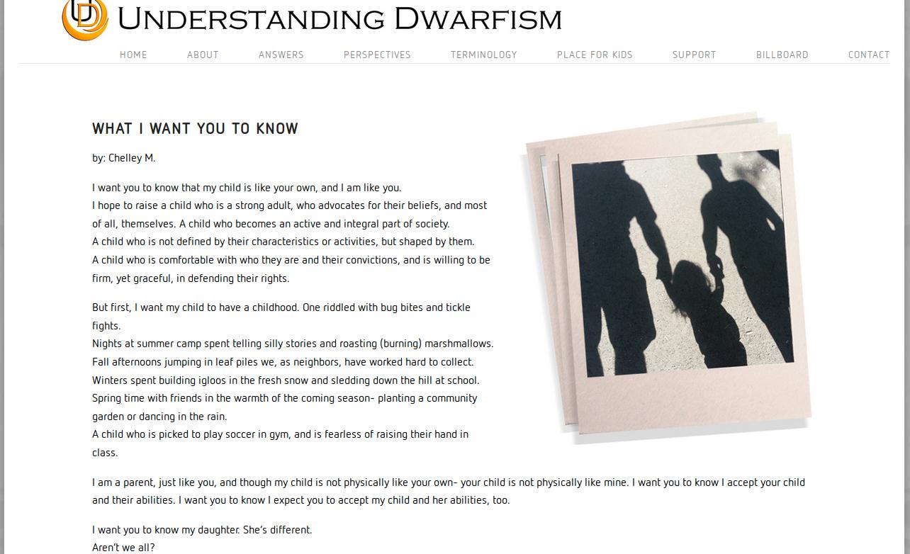 From the Understanding Dwarfism website