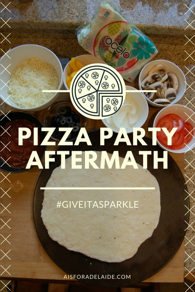 After the party, it's the after party... oh wait, no. It's the clean up! Pizza Party Aftermath #GiveItASparkle #ad