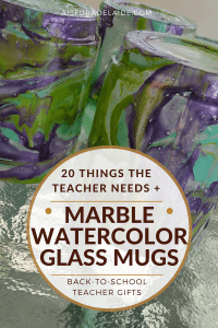 Making marble + watercolor glass mugs tutorial: Back to school gifts. + 20 things needed in the preschool classroom
