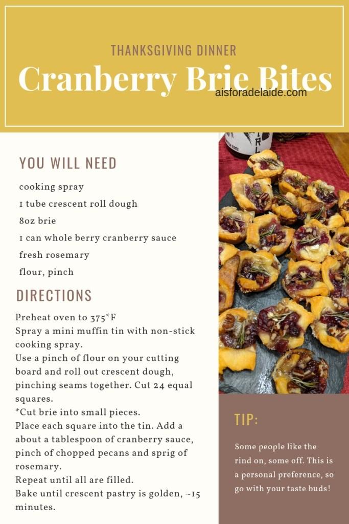 Thanksgiving Cranberry Brie Bites