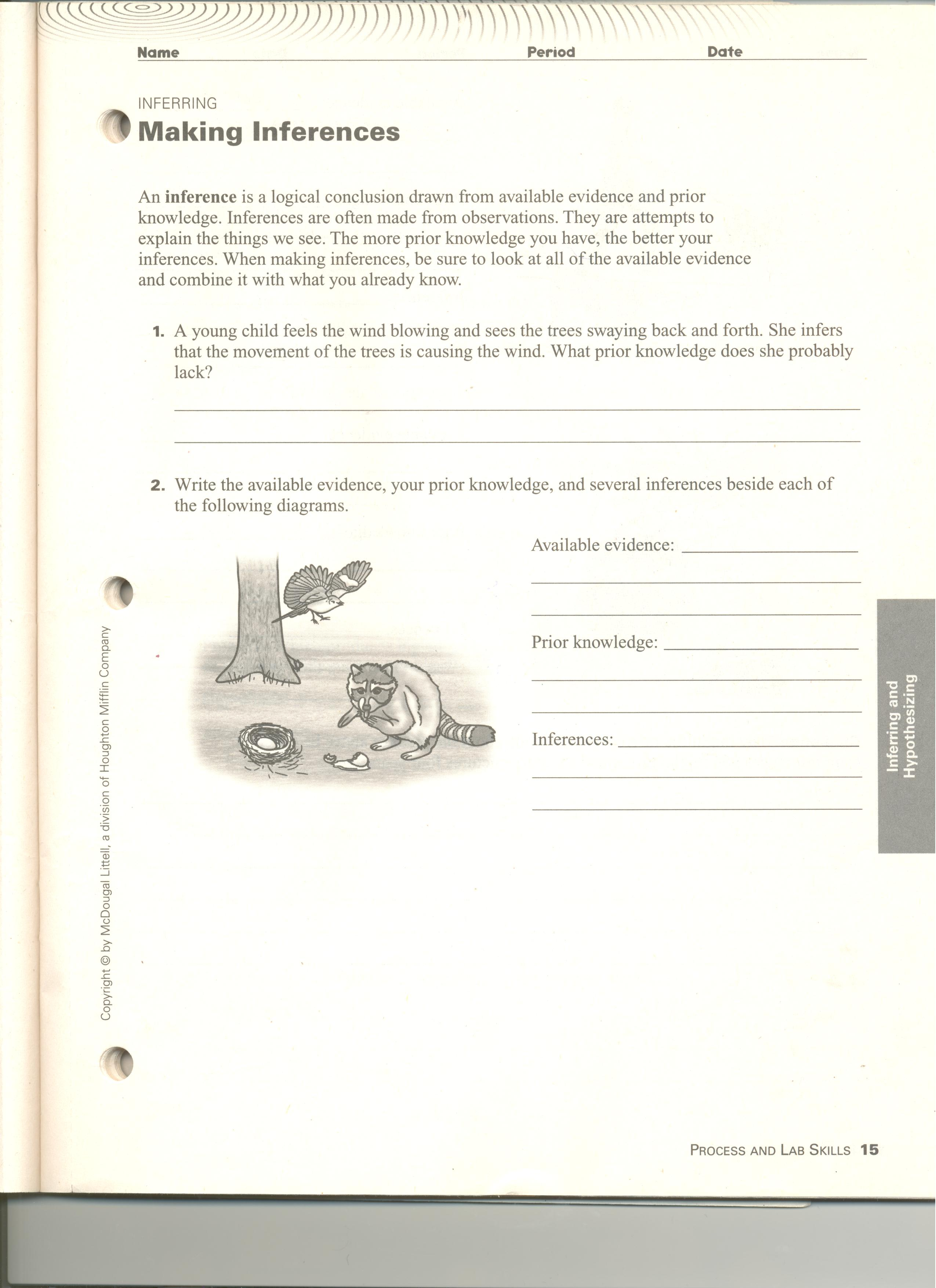 Printables Observations And Inferences Worksheet Tempojs