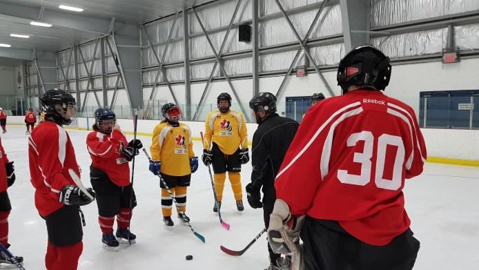 Valmennustilannekuva jossa valmentaja ohjeistaa kuutta kenttäpelaajaa. Maalivahti seuraa keskustelua selin kameraan.