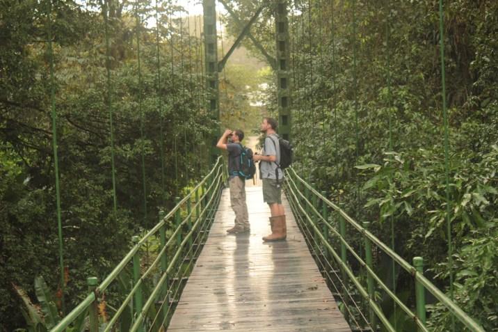 Miguel and Ben birding on the Stone Bridge