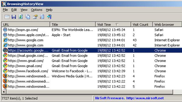 برنامج BrowsingHistoryView لاستعراض المواقع التي قام المستخدم بزيارتها