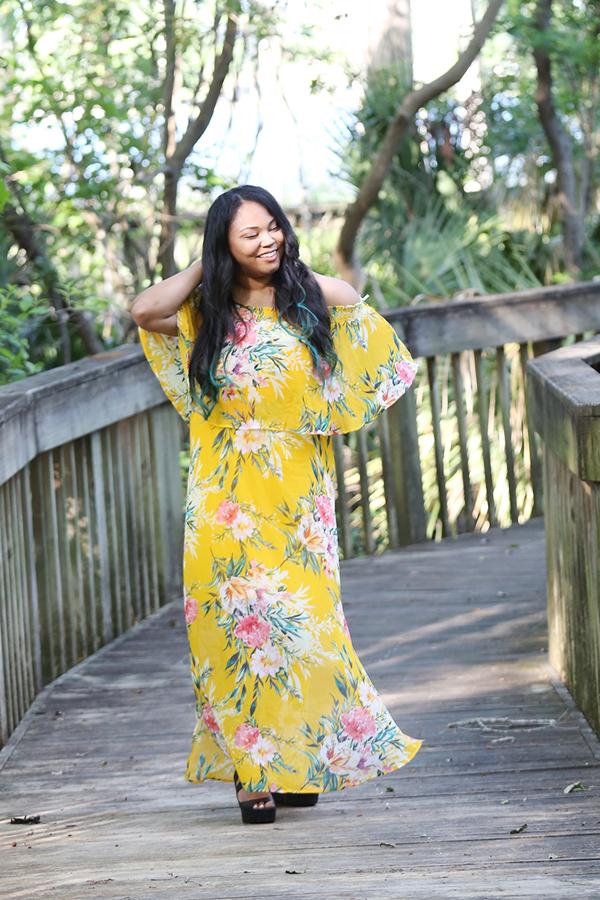 off shoulder spring dress