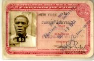 James Adeyemi's harbour pass for New York, while he worked for the White Star Line in 1944. Ann remembers the treasures he would bring back from his trips to America - beautiful fabrics, toy Chrysler cars and 'New York red delicious' apples, a real treat while the UK still had rationing.