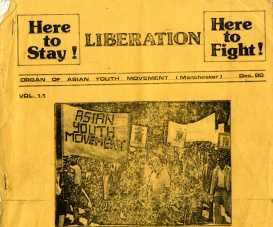 Liberation, the newsletter of the Manchester AYM. The Manchester movement formed in 1980. Public meetings were often held in Longsight library. They made links with AYMs across the country and supported their campaigns. Courtesy Tandana Archive