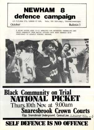Newham 8 Defence Campaign poster. This was another campaign that AYMs around the country became heavily involved with. The Newham 8 were arrested after defending themselves from attack by white, plain clothes policemen. Courtesy Tandana Archive