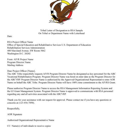 Tribal Letter of Designation to RSA Sample