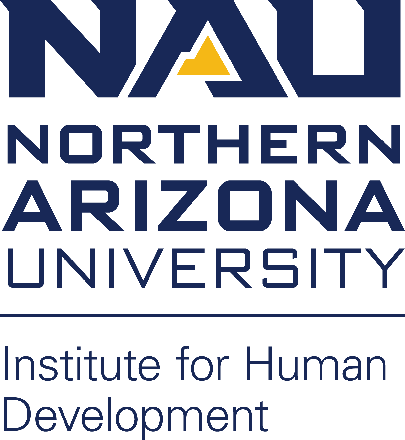 The Northern Arizona University - Institute for Human Development logo consists of the letters NAU with a mountain icon in the A of NAU.