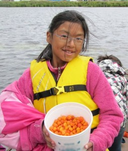 salmon-berries