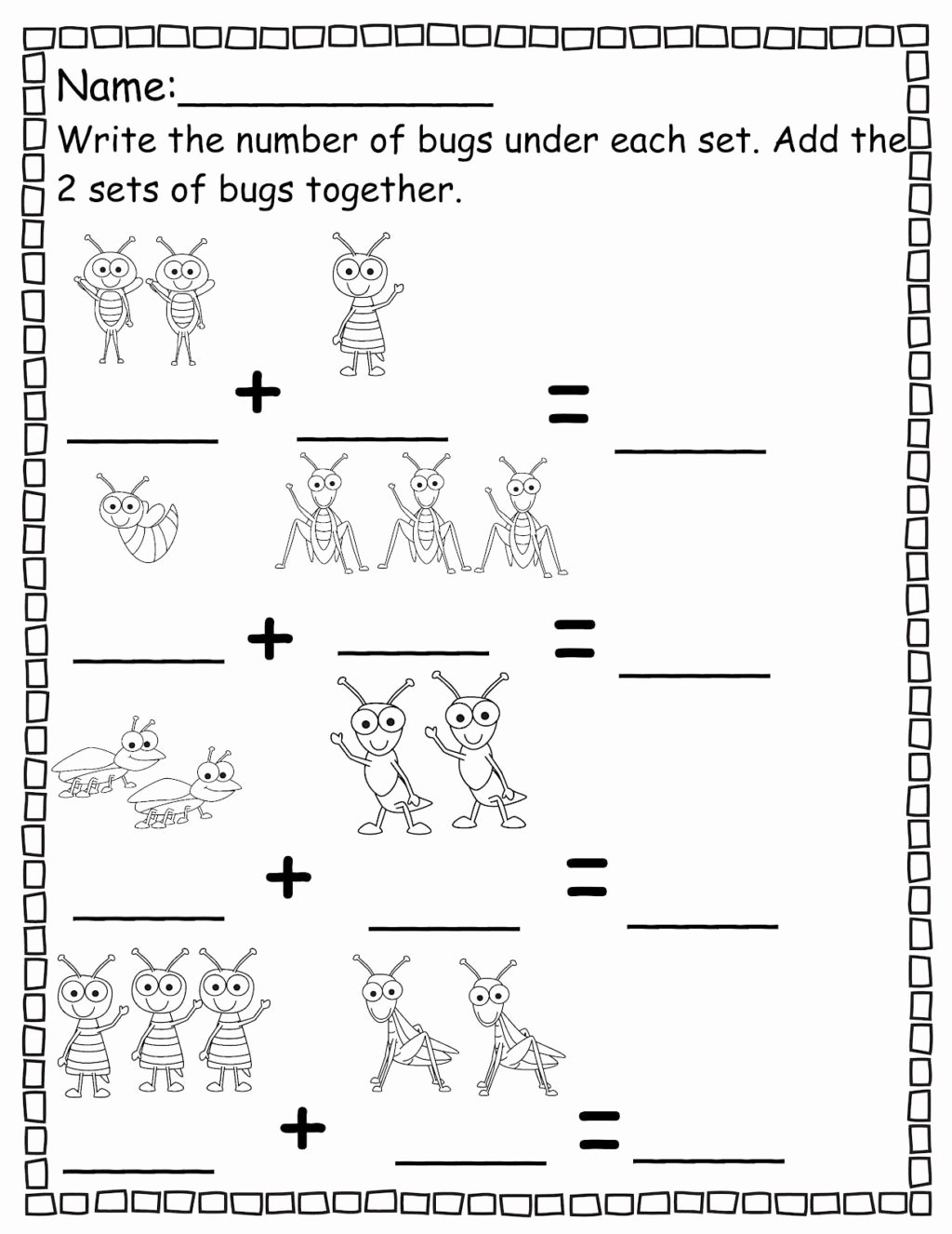 Counting Bugs Worksheets For Preschoolers