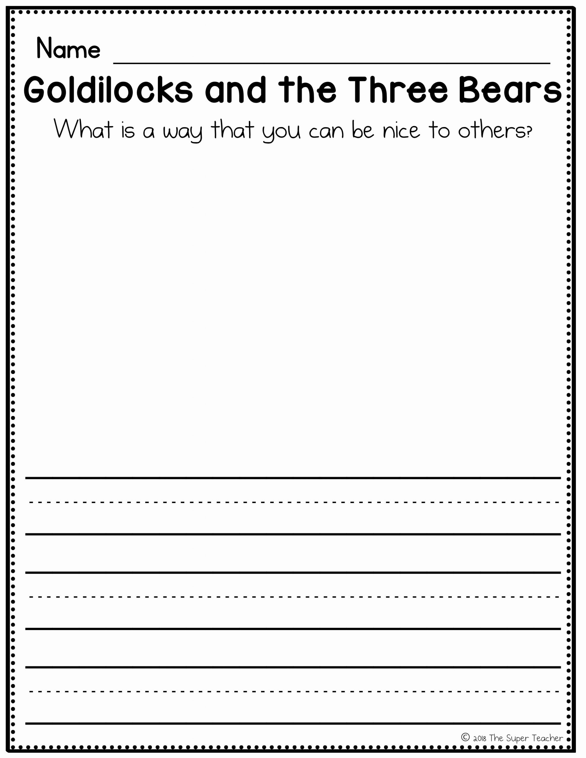 Goldilocks And The Three Bears Worksheets For Preschoolers