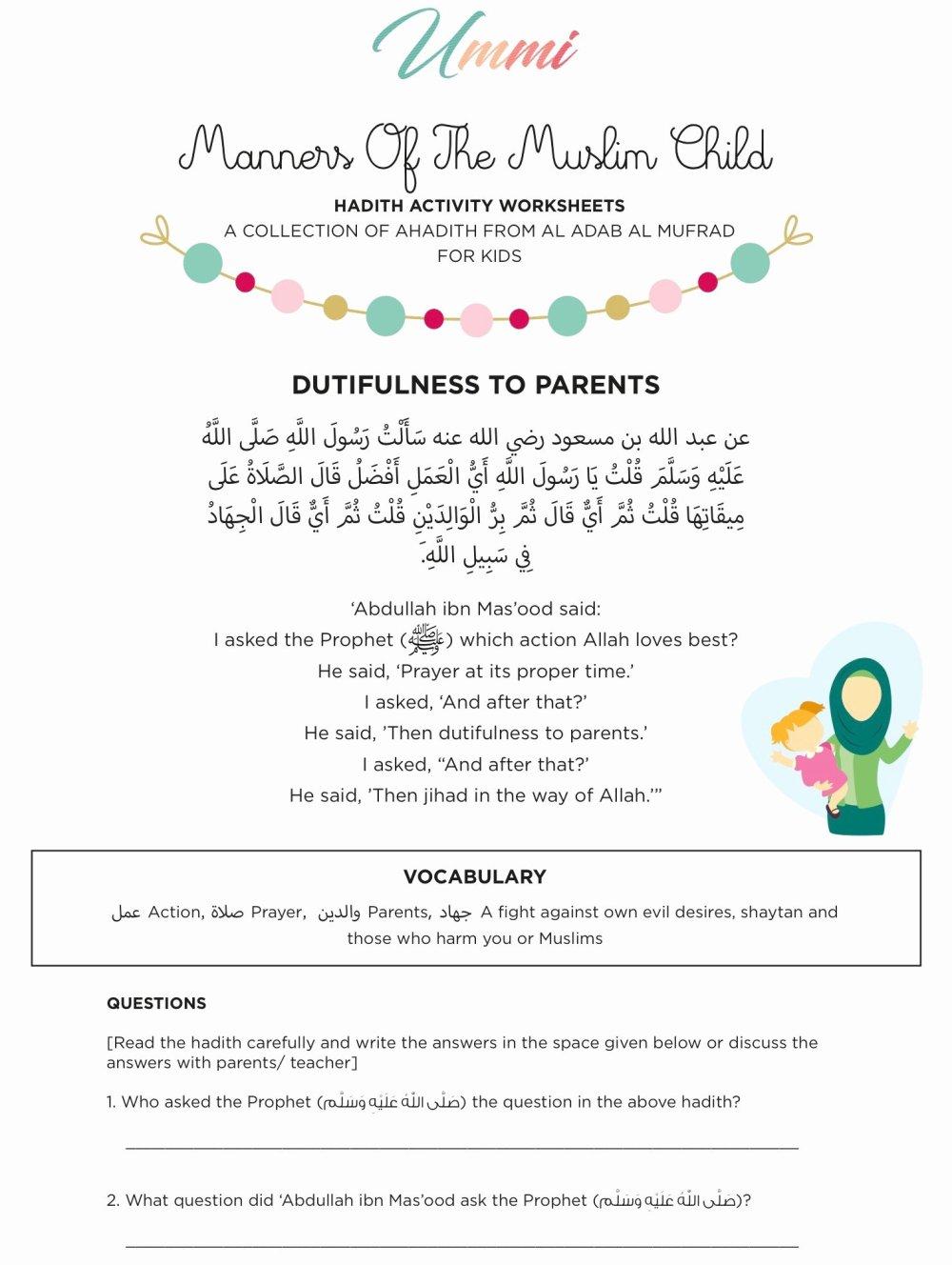 medium resolution of Islamic Worksheets for Preschoolers Beautiful Hadith Activity Worksheets  for Kids – Ummi – islamic – Printable Worksheets for Kids