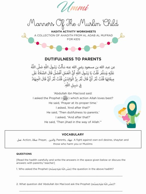 small resolution of Islamic Worksheets for Preschoolers Beautiful Hadith Activity Worksheets  for Kids – Ummi – islamic – Printable Worksheets for Kids