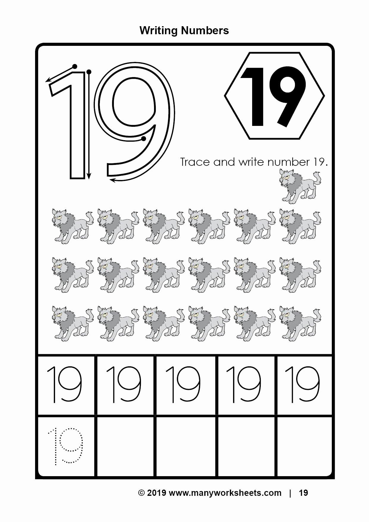 Number 19 Worksheets For Preschoolers