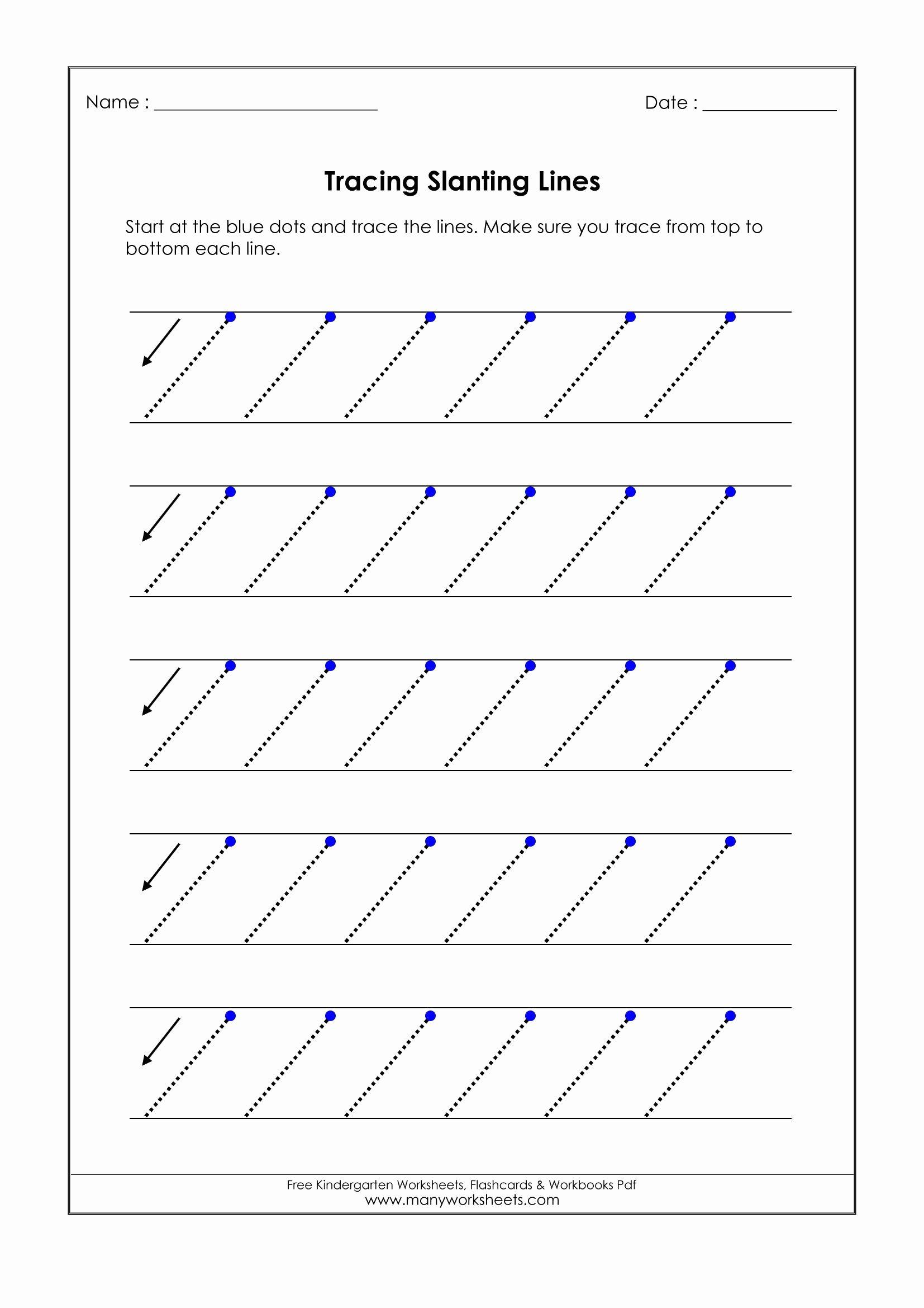 Slanting Lines Worksheets For Preschoolers